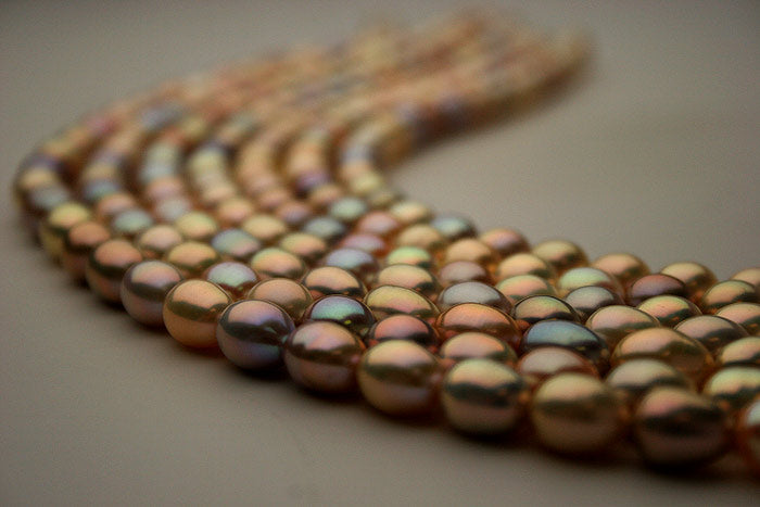 intense multi-color drop pearl necklaces