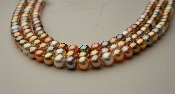big bold and metallic multi color freshwater pearls