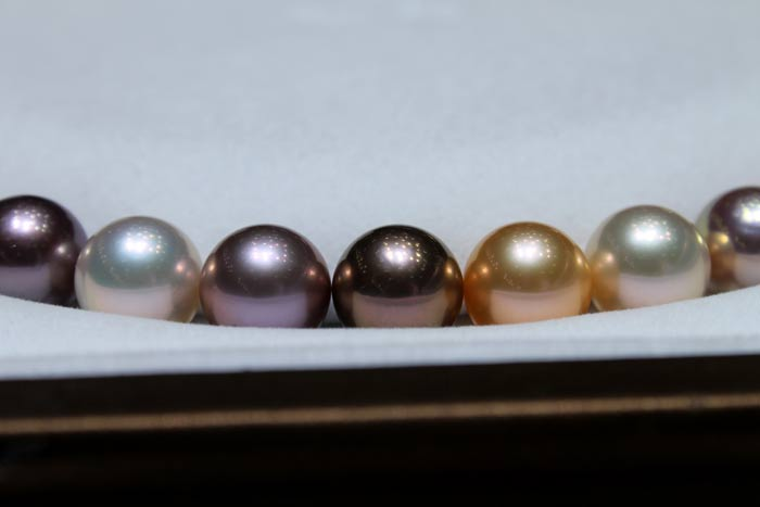 freshwater metallic pearls in different colors