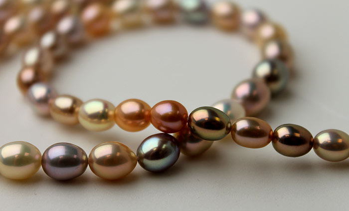 multi-colored drop pearls