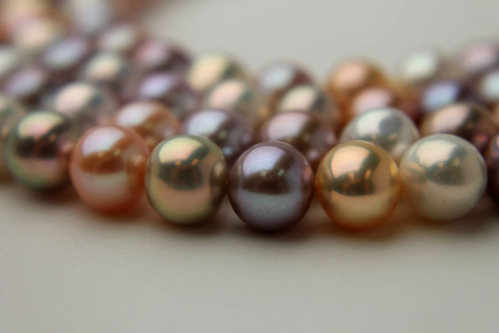 multi-colored round pearls