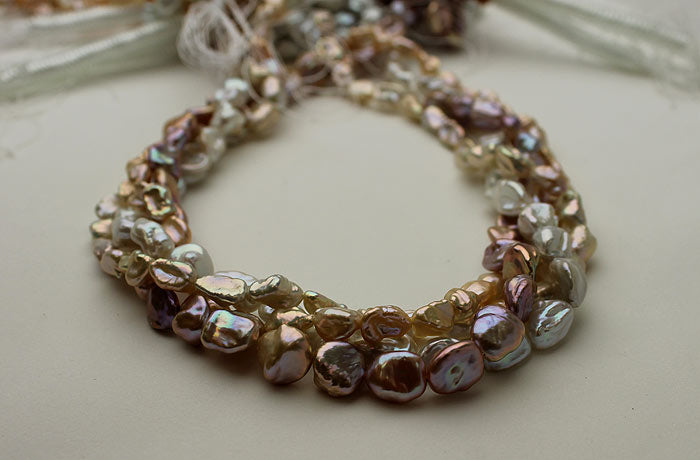 multicolored Keshi pearl strands