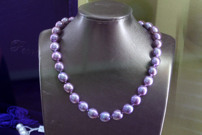 beautiful lavender drop pearl necklace