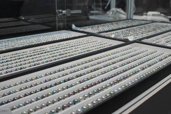 rows of Tahitian pearls