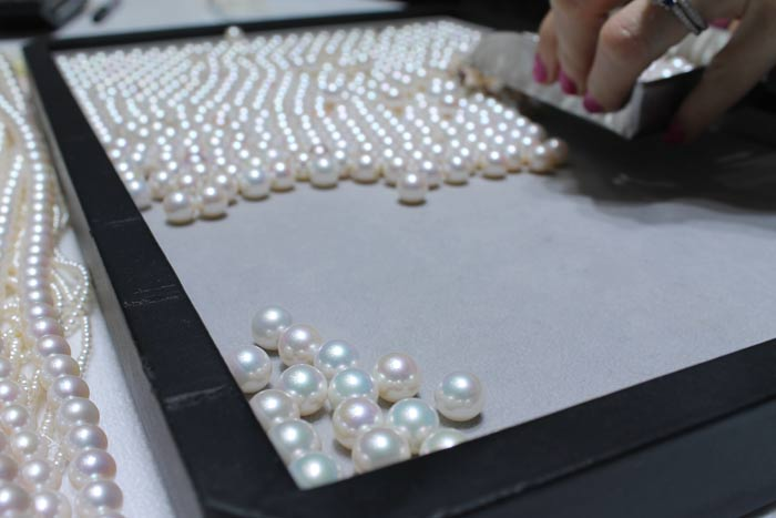 white metallic pearls on a tray