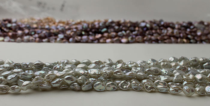 silver Keshi pearls on close up