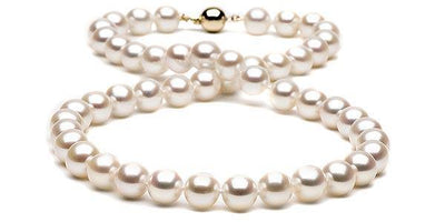 White Gem Grade Freshwater Pearl Necklace: 9.5-10.0mm