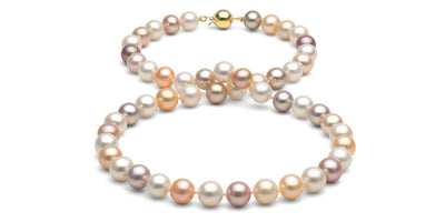 Multi-Color Freshwater Pearl Necklace: 8.5-9.0mm