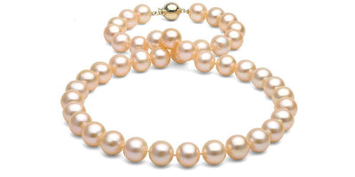 Pink/Peach Freshwater Pearl Necklace: 9.5-10.0mm