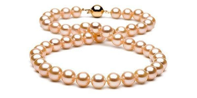 Peach/Pink Gem Grade Freshwater Pearl Necklace: 9.5-10.0mm