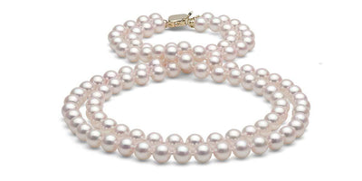 Double Strand Akoya Pearl Necklace: 7.0-7.5mm