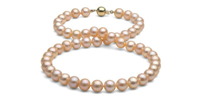 Peach/Pink Gem Grade Freshwater Pearl Necklace: 8.5-9.0mm