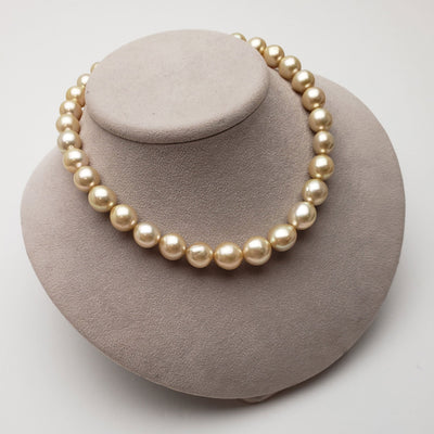 "18"" Oval Golden South Sea Pearl Necklace: 12.0-15.8mm - AA+/AAA"