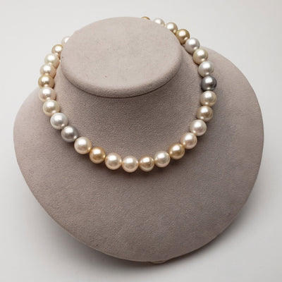 "18"" Baroque Multi-Color South Sea Pearl Necklace: 12.9-13.4mm AA+/AAA"