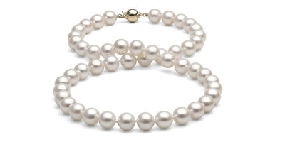 White Gem Grade Freshwater Pearl Necklace: 8.5-9.0mm