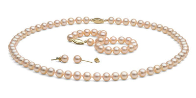 Peach/Pink Gem Grade Freshwater Pearl Jewelry Set: 6.5-7.0mm