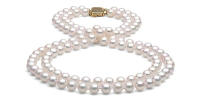 Double Strand Akoya Pearl Necklace: 6.5-7.0mm