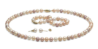 Multi-Color Gem Grade Freshwater Pearl Jewelry Set: 6.5-7.0mm