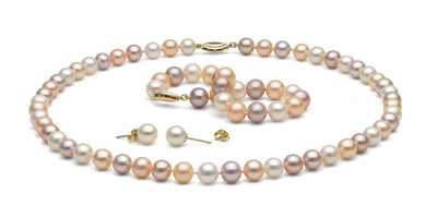 Multi-Color Gem Grade Freshwater Pearl Jewelry Set: 7.5-8.0mm