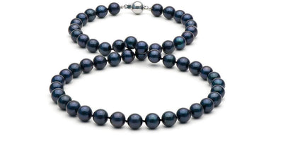 Black Akoya Pearl Necklace: 7.5-8.0mm