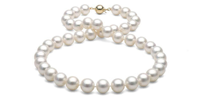 White Freshwater Pearl Necklace: 9.5-10.0mm