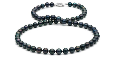 Black Akoya Pearl Necklace: 6.0-6.5mm