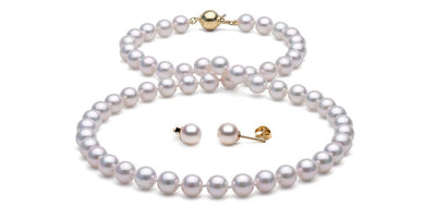 Akoya Pearl Necklace and Earrings: 7.0-7.5mm