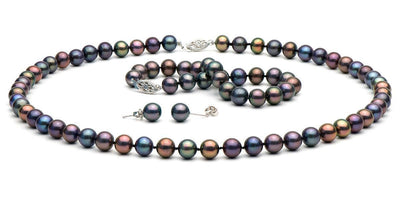 Black Freshwater Pearl Jewelry Set: 7.5-8.0mm