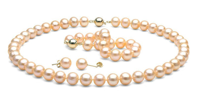 Pink/Peach Freshwater Pearl Jewelry Set: 9.5-10.0mm