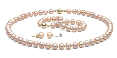 Pink/Peach Freshwater Pearl Jewelry Set: 8.5-9.0mm