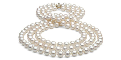 Triple Strand Freshwater Pearl Necklace: 8.5-9.0mm