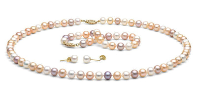 Multi-Color Freshwater Pearl Jewelry Set: 7.5-8.0mm