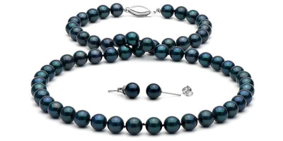Black Akoya Pearl Necklace and Earrings: 6.5-7.0mm