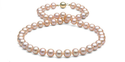 Pink/Peach Freshwater Pearl Necklace: 8.5-9.0mm