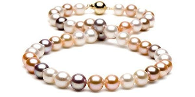 Multi-Color Gem Grade Freshwater Pearl Necklace: 9.5-10.0mm