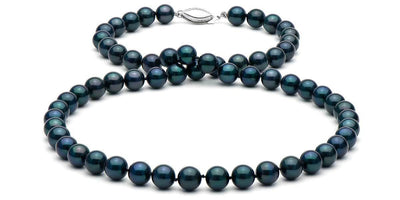 Black Akoya Pearl Necklace: 6.5-7.0mm