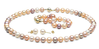 Multi-Color Gem Grade Freshwater Pearl Jewelry Set: 8.5-9.0mm