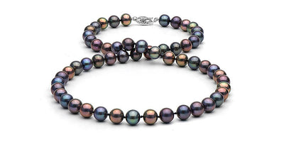 Black Freshwater Pearl Necklace: 7.5-8.0mm