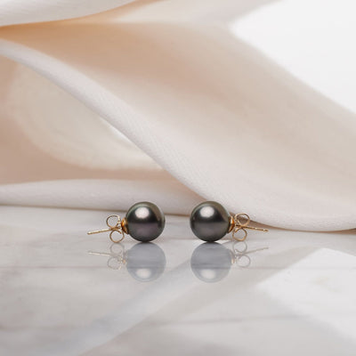 Tahitian Pearl Earrings: 9.0-10.0mm