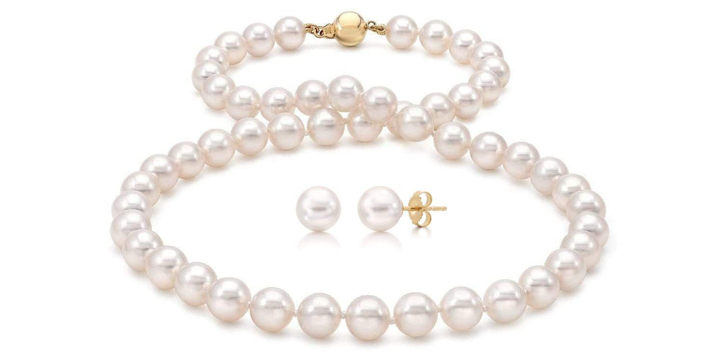 Akoya Pearl Necklace and Earring Set: 7.5-8.0mm