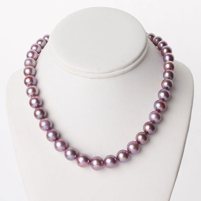 "18"" Metallic Freshwater Edison Pearl Necklace: 8.0-11.9mm"