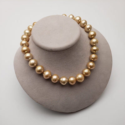 "18"" Circle Baroque Golden South Sea Pearl Necklace: 15.8-18.5 AA+/AA"