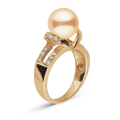 """Grandeur"" Golden South Sea Pearl and Diamond Ring: 9.0-10.0mm"