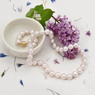 "18"" ""Top Range"" Hanadama Akoya Pearl Necklace: 9.0-9.5mm"