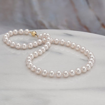 "18"" ""Top Range"" Hanadama Akoya Pearl Necklace: 8.0-8.5mm"