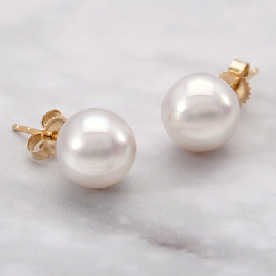 """Top Range"" Hanadama Akoya Pearl Earrings: 8.5-9.0mm"