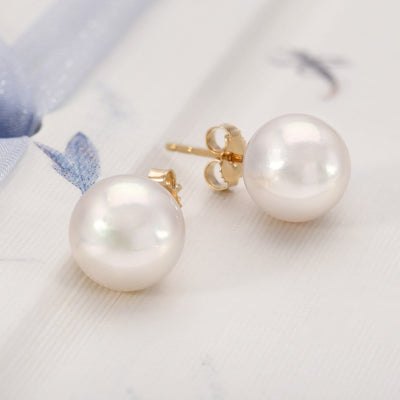 """Top Range"" Hanadama Akoya Pearl Earrings: 9.0-9.5mm"