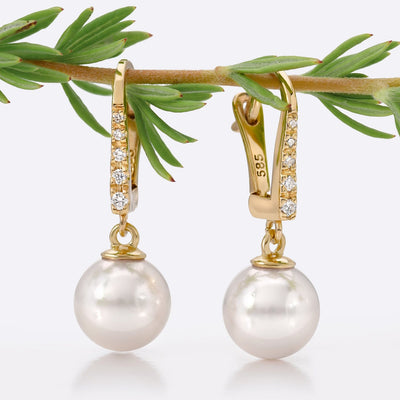 Diamond Dangle Akoya Pearl Earrings: Various Sizes
