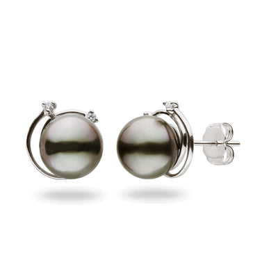 """Shooting Star"" Diamond Stud Tahitian Pearl Earrings: 8-9mm"