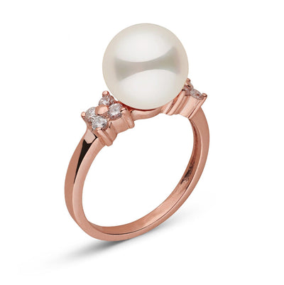 """Royal Flower"" White South Sea Pearl Ring: 9.0-10.0mm"